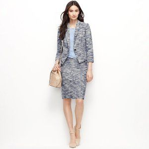 Ann Taylor Petite Brindled Navy Tweed 2-Piece Suit